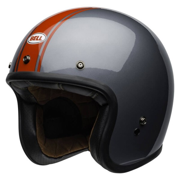 Casco Moto Vintage Bell Helmets Custom 500 Rally Gray Red