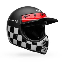 Motorrad Helm Vintage Bell Helmets Moto 3 Fasthouse Checkers, Vintage-Helme