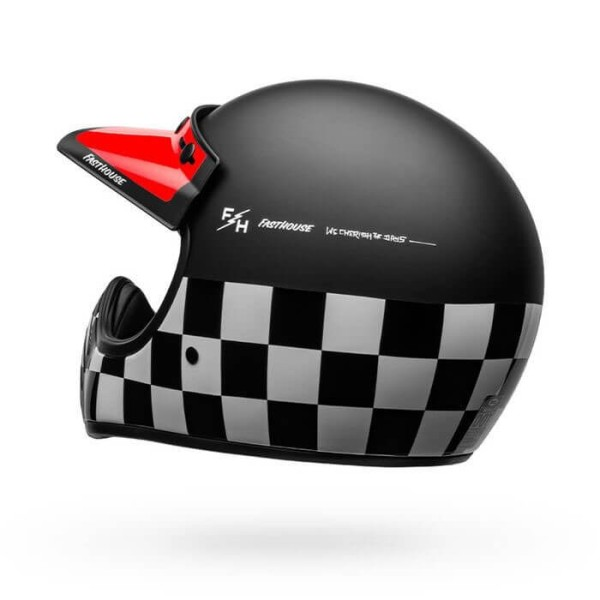 Casque Moto Vintage Bell Helmets Moto 3 Fasthouse Checkers