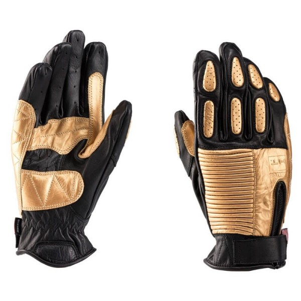 Motorcycle Leader Gloves Blauer HT Banner Black Gold