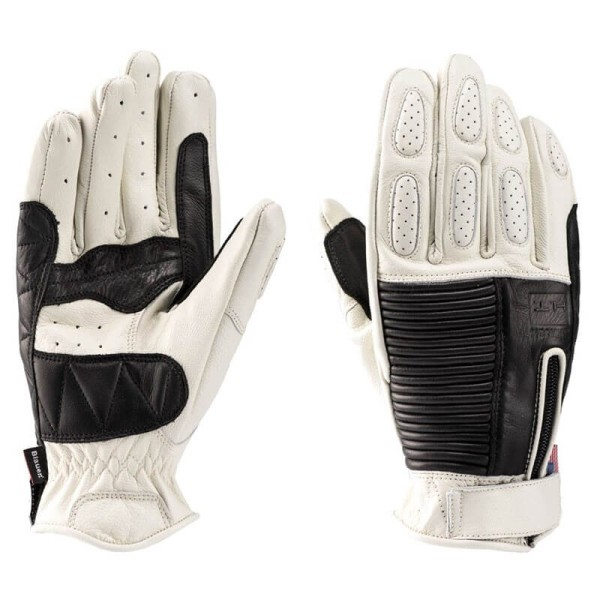 Motorcycle Leader Gloves Blauer HT Banner White Black