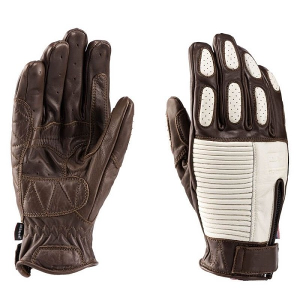Motorcycle Leader Gloves Blauer HT Banner Brown White