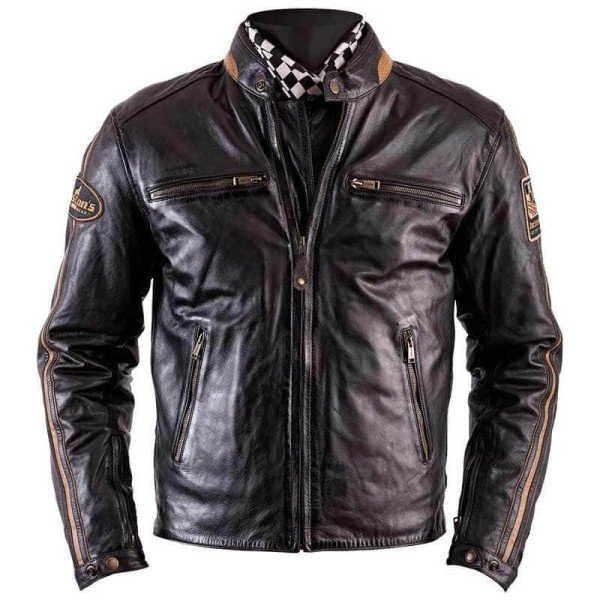 Leather motorcycle jacket Helstons Ace Rag brown