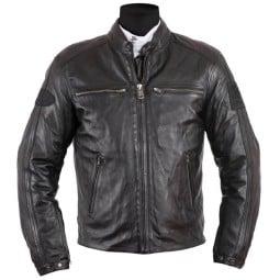Giubbotto moto pelle Helstons Ace Rag nero, Giubbotti e Giacche Pelle Moto