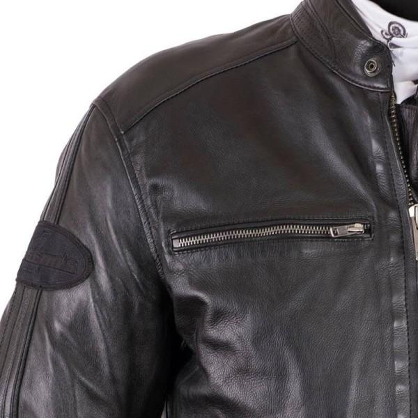 Leather motorcycle jacket Helstons Ace Rag black
