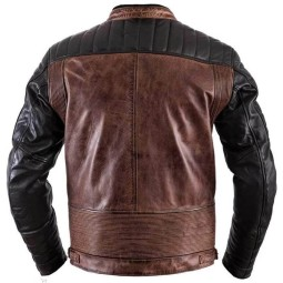 Leather motorcycle jacket Helstons Cruiser Rag camel black ,Leather Motorcycle Jackets