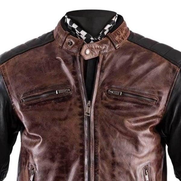 Blouson moto cuir Helstons Cruiser Rag camel noir