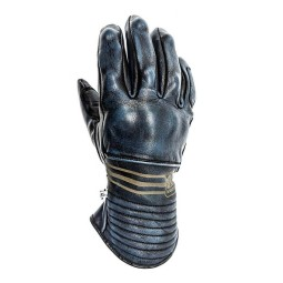 Leather motorcycle gloves Helstons Rider blue