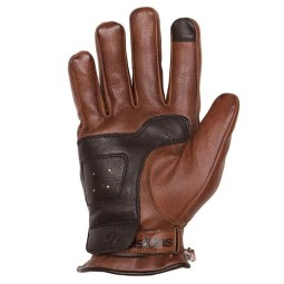 Leather motorcycle gloves Helstons Pure camel black