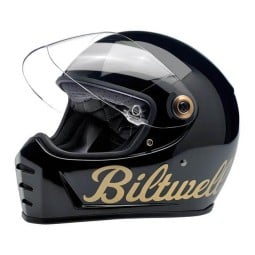 Casco Biltwell Lane Splitter black factory gold, Caschi Vintage