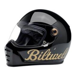 Motorrad helm Biltwell Lane Splitter black factory gold ,Vintage Helme