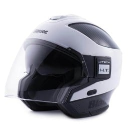 Motorrad helm Blauer Solo white carbon