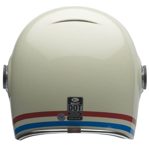 Casco Moto Vintage BELL HELMETS Bullitt Stripes Pearlwhite