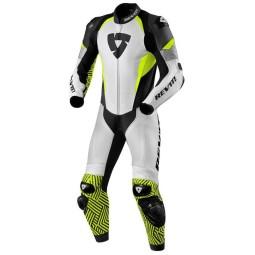 Motorrad Lederkombi Rev it Triton weiß gelb