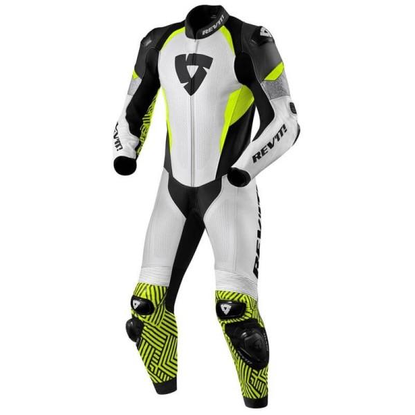 Traje moto Rev it Triton blanco amarillo