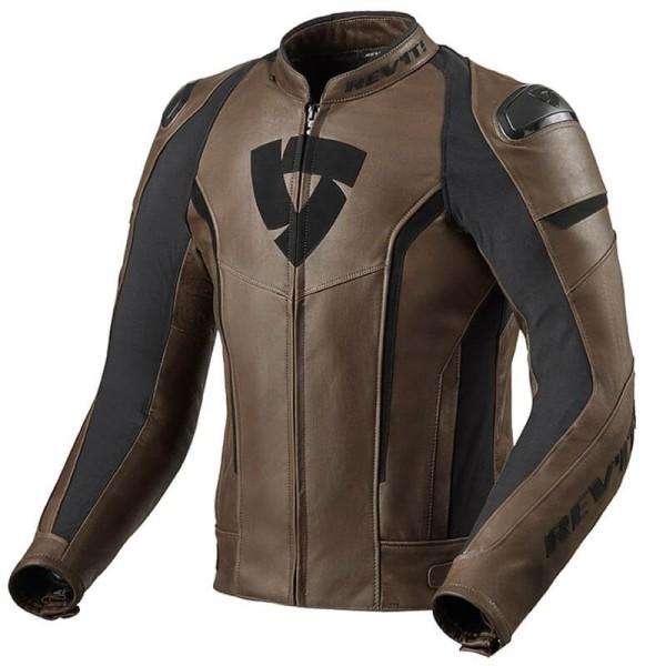 Chaqueta moto cuero Rev it Glide Vintage marron