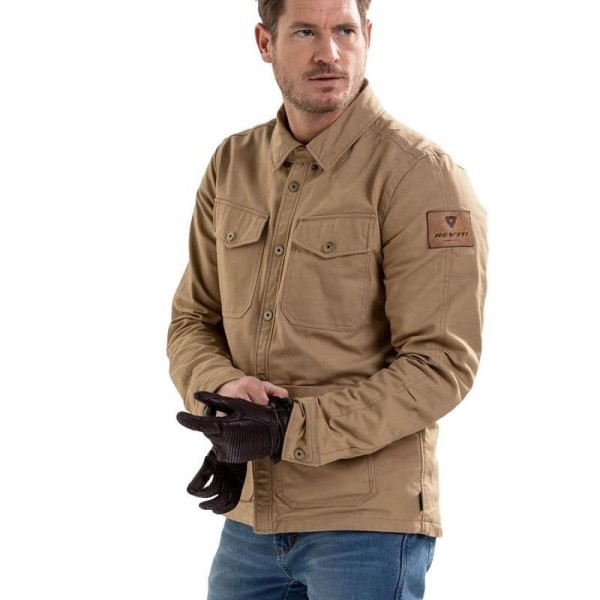 Chaqueta moto Rev it Worker sobrecamisa arena