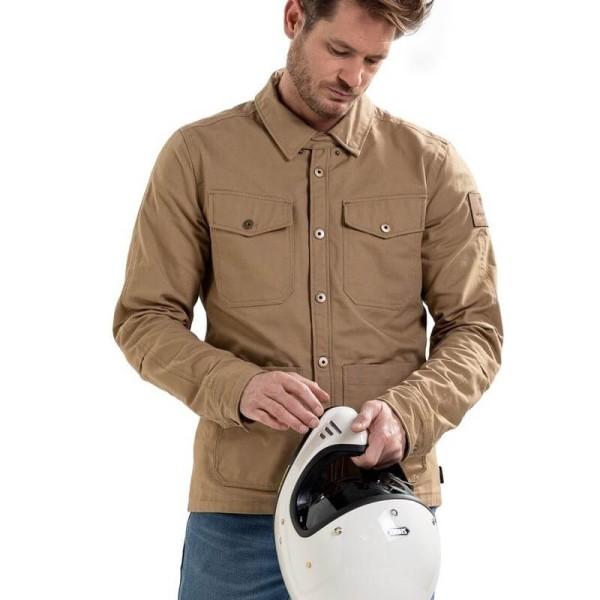Motorrad jacke Rev it Worker Überhemd sand