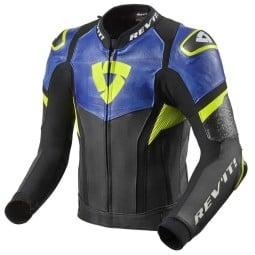 Motorcycle leather jacket Rev it Hyperspeed Pro black blue