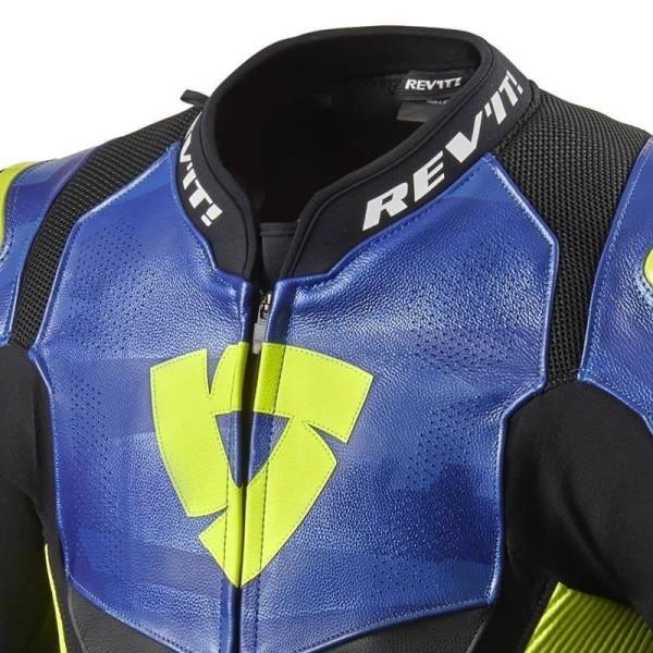 Blouson cuir moto Rev it Hyperspeed Pro noir bleu