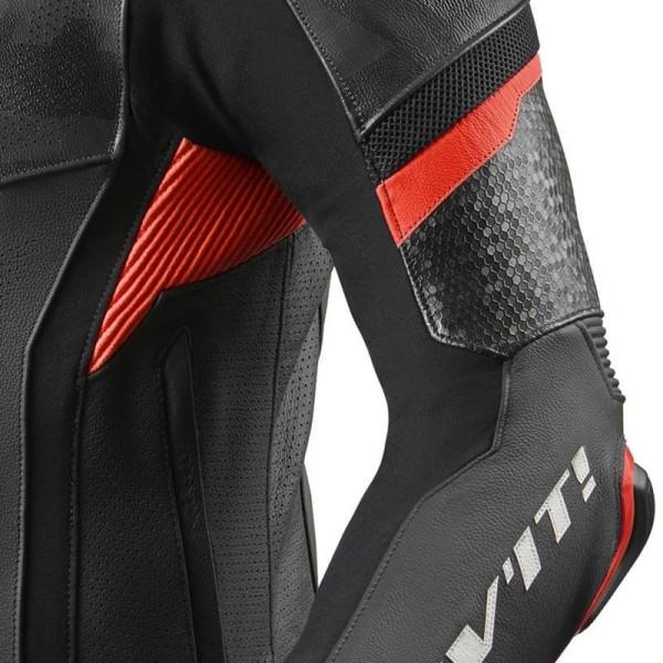 Blouson cuir moto Rev it Hyperspeed Pro noir rouge