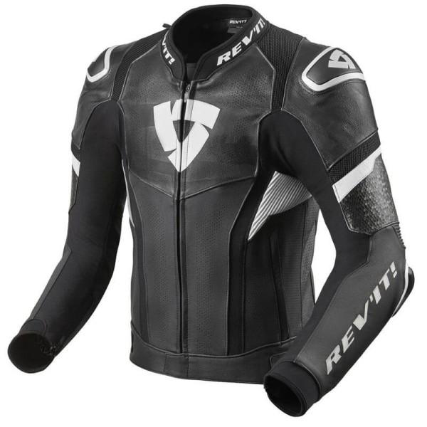 Blouson cuir moto Rev it Hyperspeed Pro noir blanc