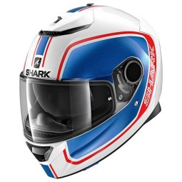 Shark Spartan Priona white blue red motorcycle helmet, Full Face Helmets