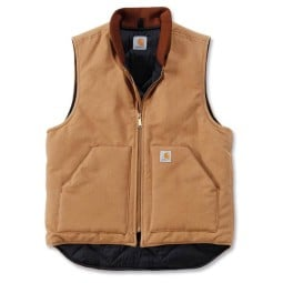 Carhartt Duck Arctic Quilt Lined Gilet brown, Motorcycle jackets