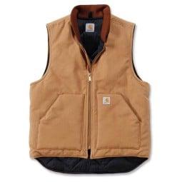 Gilet Carhartt Duck Arctic Quilt Lined marrone, Giubbotti e Giacche Tessuto Moto