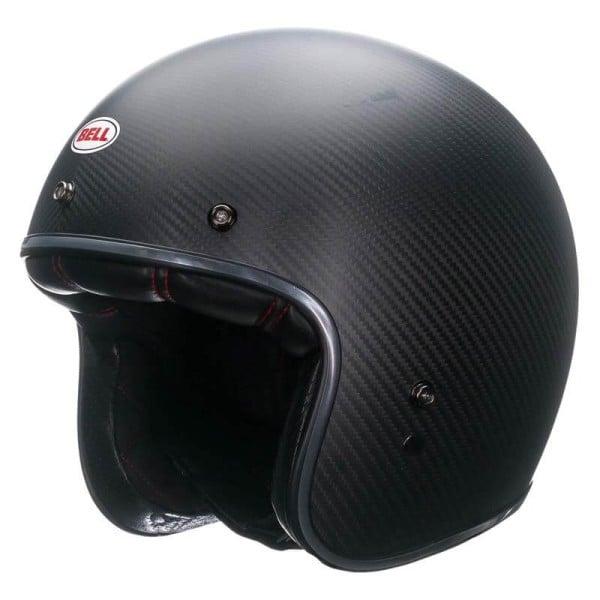 Casco Moto Vintage BELL HELMETS Custom 500 Carbon Matt Black