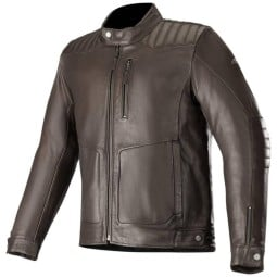 Chaqueta moto cuero Alpinestars Crazy Eight marron