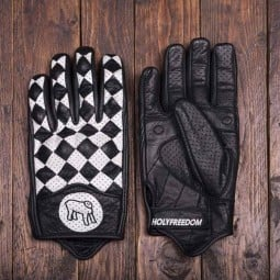 Holy Freedom Bullit motorcycle gloves black white ,Motorcycle Leather Gloves