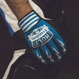 Guantes moto Holy Freedom Hotwheels azul