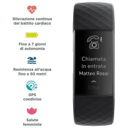 Orologio Fitbit Tracker Charge 3 nero, Smartwatch