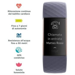 Fitbit bracelet connecté Tracker Charge 3 gris rose
