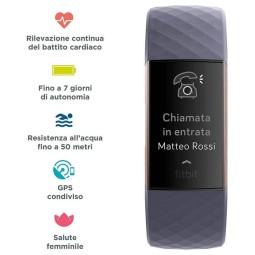 Orologio Fitbit Tracker Charge 3 grigio rosa, Smartwatch