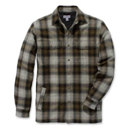 Carhartt Hubbard Sherpa lined Kariertes Hemd olive, Hemden