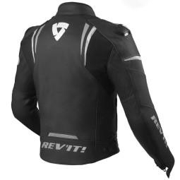 Rev'it Glide chaqueta cuero moto negro blanco