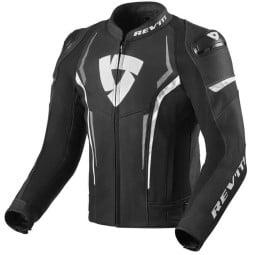 Rev'it Glide motorcycle leather jacket black white