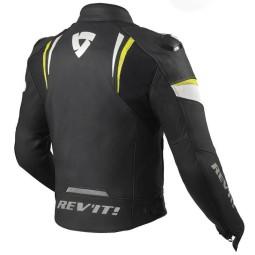 Rev'it Glide chaqueta cuero moto negro amarillo
