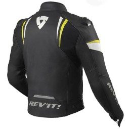 Rev'it Glide Motorrad Lederjacke schwarz gelb