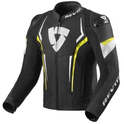 Rev'it Glide motorcycle leather jacket black yellow
