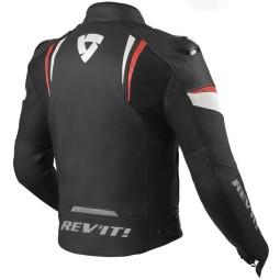 Rev'it Glide chaqueta cuero moto negro rojo