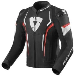 Rev'it Glide motorcycle leather jacket black red