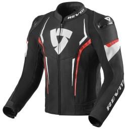 Rev'it Glide Motorrad Lederjacke schwarz rot