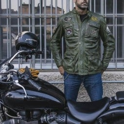 Motorcycle leather jacket Holy Freedom Quattro green