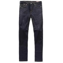 Blauer HT Scarlett Frau Motorrad Jeans dunkelblau