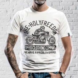 T-shirt Holy Freedom Skeleton Rider blanc