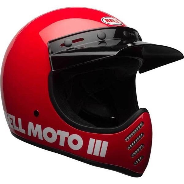 Casque Moto Vintage BELL HELMETS Moto 3 Rouge