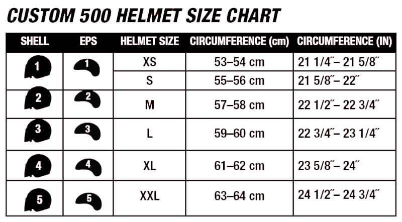 Bell Helmets Custom 500 Size Chart